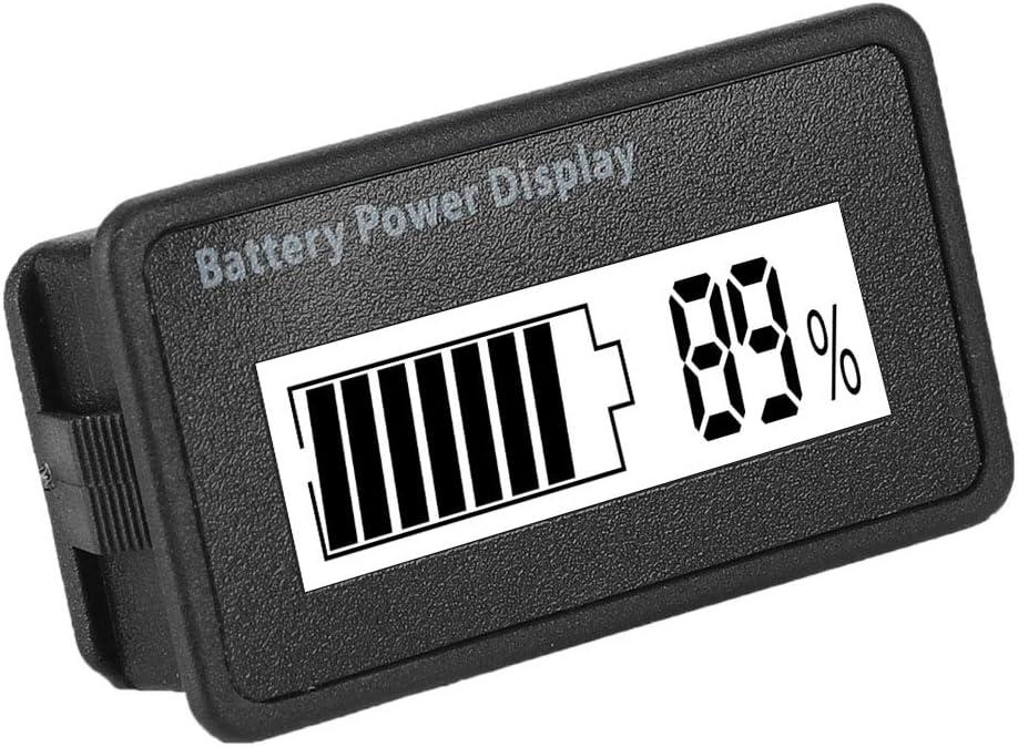 wei/ß LCD Akku Kapazit/ät Voltmeter Meter 12-48 V Universal LCD Digital Battery Capacity Anzeige LCD Batterie Kapazit/äts Monitor