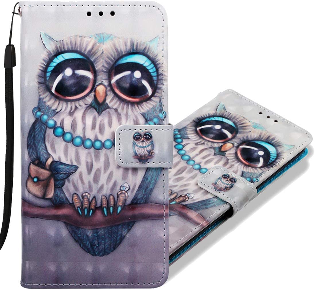 MRSTER Funda para Xiaomi Mi A2 Lite, 3D Moda Carcasa Libro Flip Case Antigolpes Cartera PU Cuero Funda con Función de Soporte para Xiaomi Mi A2 Lite. YB Owl