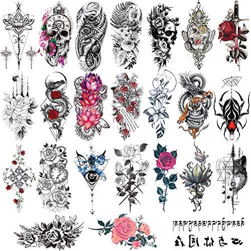 Konsait 24 Sheets Large Temporary Tattoos Half Arm Tattoo Sleeves Big Flowers Tribal Totem Tattoo Temporary Fake Body Art Arm Chest Shoulder Tattoo Black Tattoo Body Stickers for Women Man