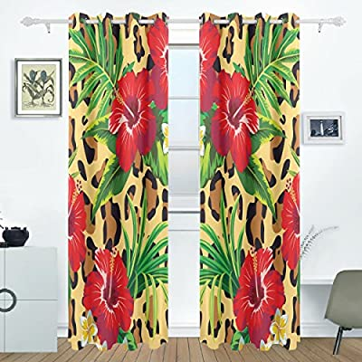 BENNIGIRY Tropical Hawaiian Plumeria y Hibisco Flores habitación oscurecimiento térmica Ojal apagón Cortina de Ventana Cortina para Sala de Estar Paneles par Negro 55 x 84-Inch: Amazon.es: Hogar