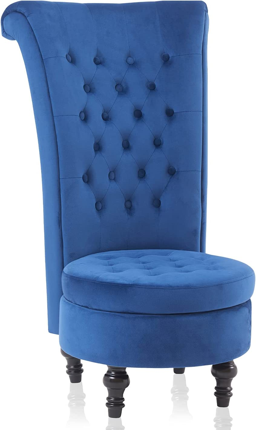 Living Room Chair Velvet High Back Accent Bedroom Chair Tufted Royal Throne Retro Armless Lounge Chair Upholstered Chairs w/Storage for Women Girls (Blue)