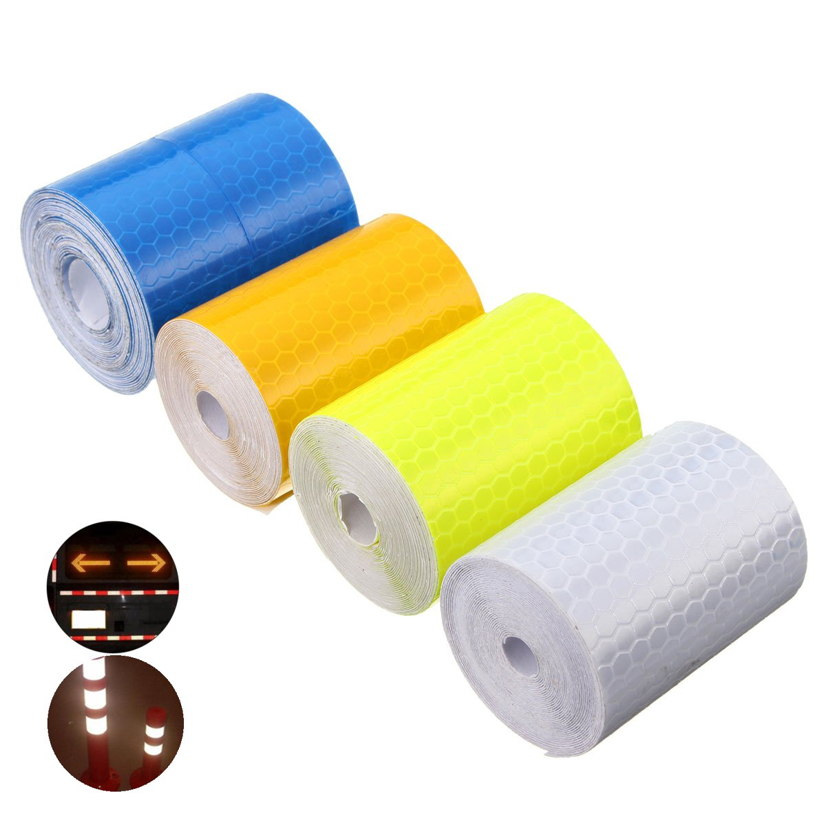 Exterior Accessories - 5cm X 300cm Reflective Safety Warning Conspicuity Tape Film Car Sticker - Reflective Tape For Clothing Vehicles Clothes Yellow Conspicuity Waterproof White - 2 Inch - 1PCs