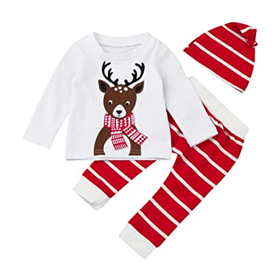 2017 Xmas Infant Newborn Baby Boy Girls Pajamas Outfits Cute Deer Print Tops+Pant+Hat Clothes Set