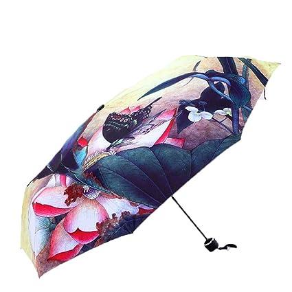 Aihifly Paraguas Paraguas Plegable Patrón de Mariposa Paraguas Amarillo Lluvia para Mujer Protección UV Exterior Paraguas