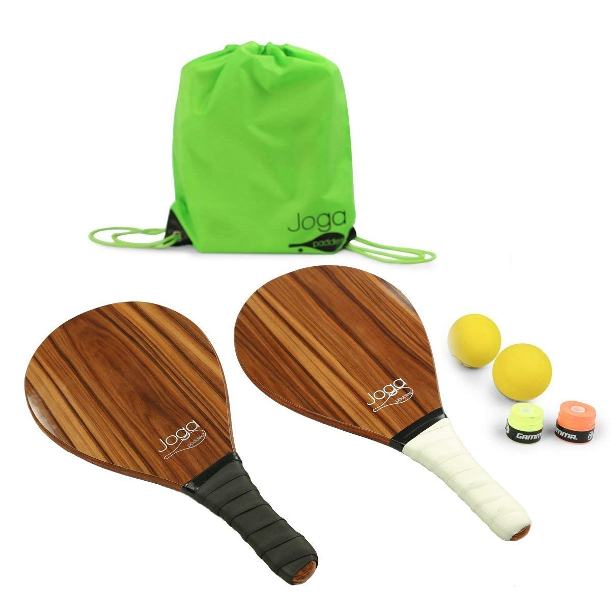 Amazon.com: 2 madera frescobol o playa Padel Raqueta Set ...