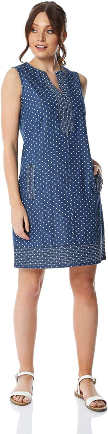 Roman Originals Women Spot Print Denim Cotton Shift Dress Ladies Casual Everyday Classic Simple Summer Holiday Polka Dot Sleeveless Knee Length Straight Dress