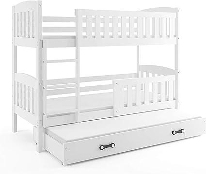 Interbeds Cama litera Triple Infantil Jacob, Color Blanco, para colchones de 200 * 90, con somieres y colchones de Espuma (2 x 200x90 y 1 x 190x80) ...