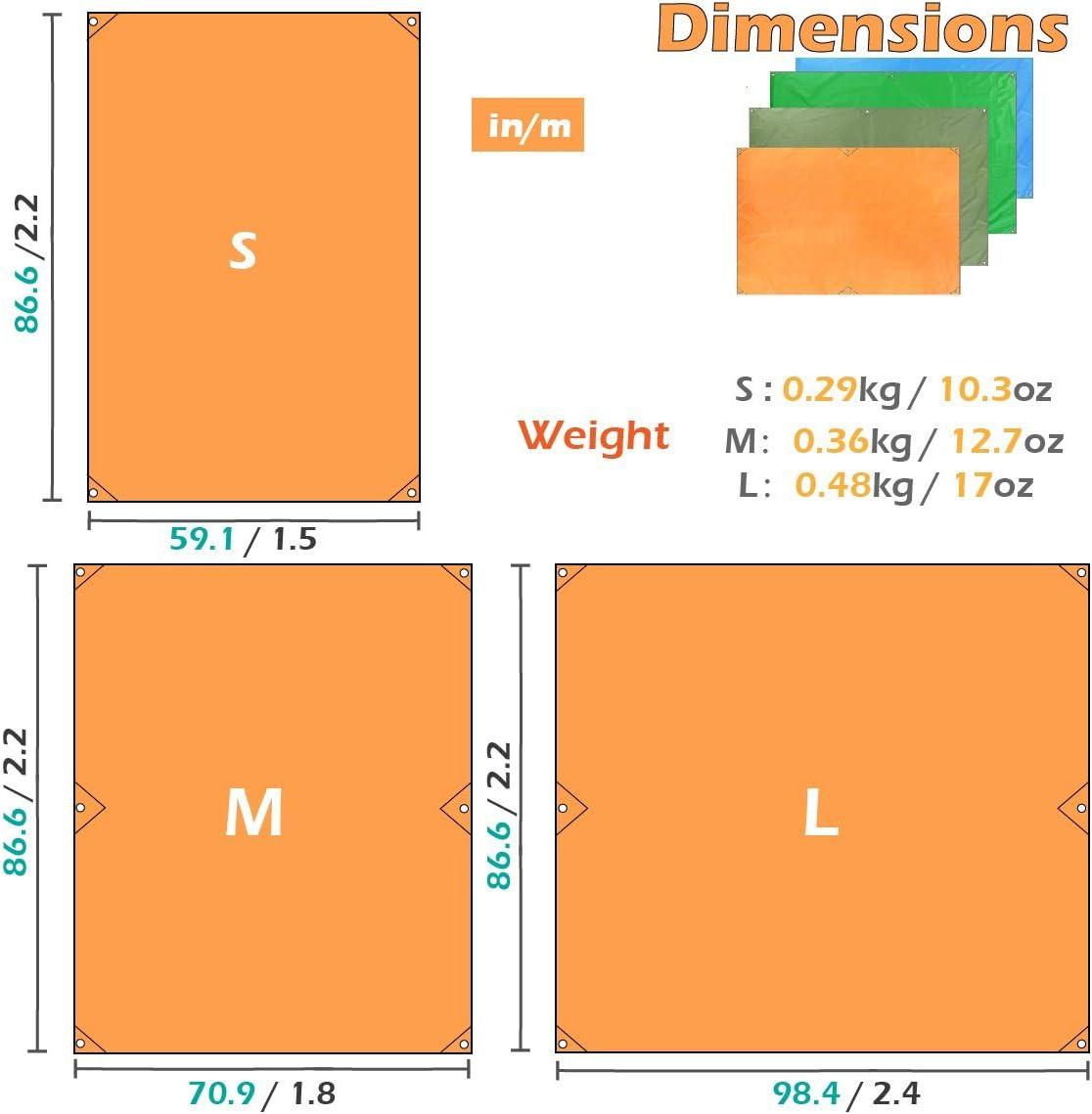 TRIWONDER/Telo Parasole da Campeggio 2,2x1,5//2,2x1,8//2,2x2,4 m Telo Impermeabile per Amaca sotto Tenda Telo Tarp da Campeggio Spiaggia Montagna