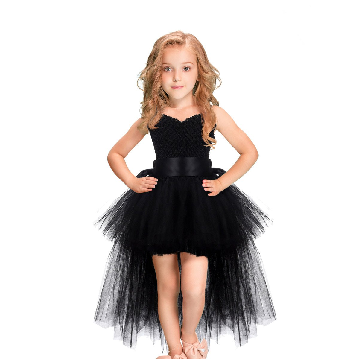 LEEGEEL Handmade Baby Flower Girls Tulle Tutu Dresses With Sunglasses For Birthday Party,Photography Prop, Black, Size 3-4T