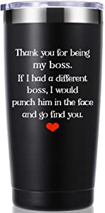 Thank You For Being My Boss 20 OZ Tumbler.Bosses Day,Office Gifts From Employees.Leaving Moving Appreciation Retirement Birthday Christmas Gifts for Women Men Boss Boss Lady Mug(Black)