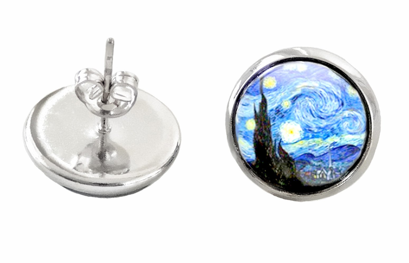 Vincent Van Gogh Starry Night Doctor Who Silver Plated Stud Earrings Glass Dome Posts