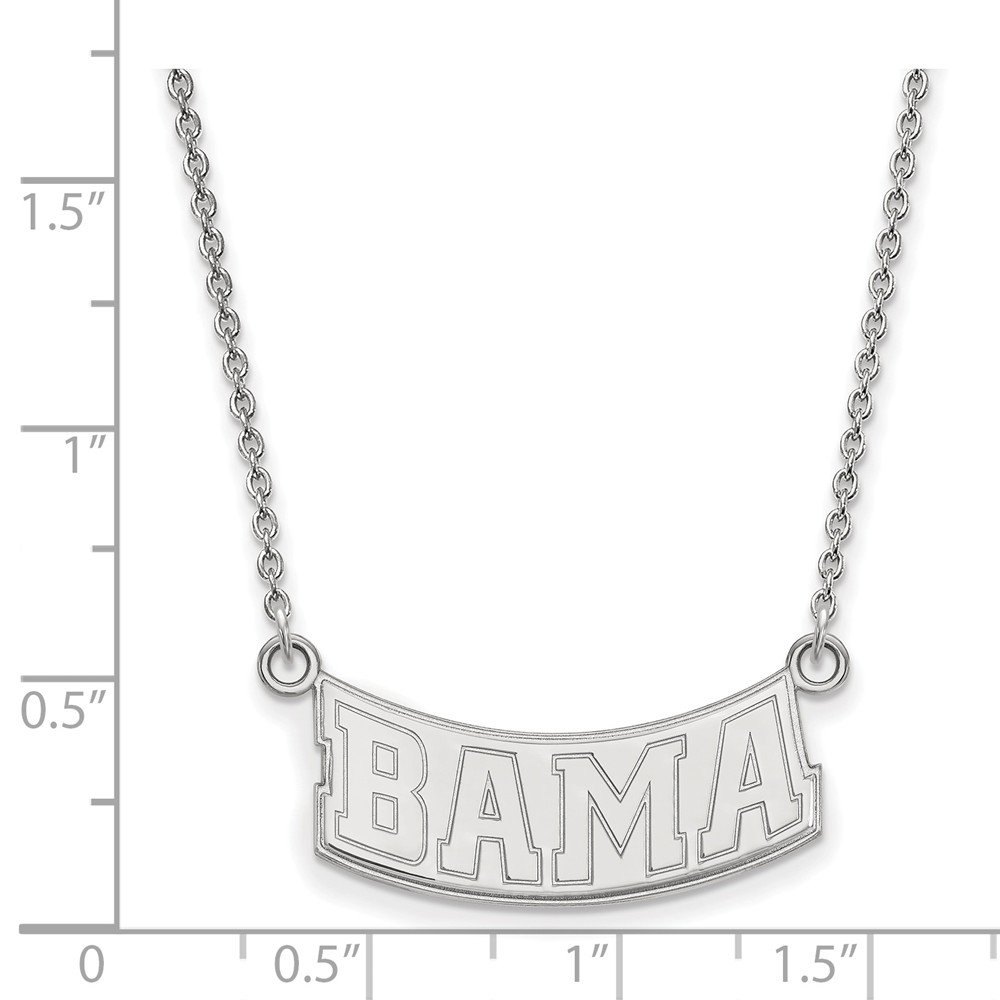 26mm Jewel Tie 925 Sterling Silver University of Alabama Small Pendant with Necklace