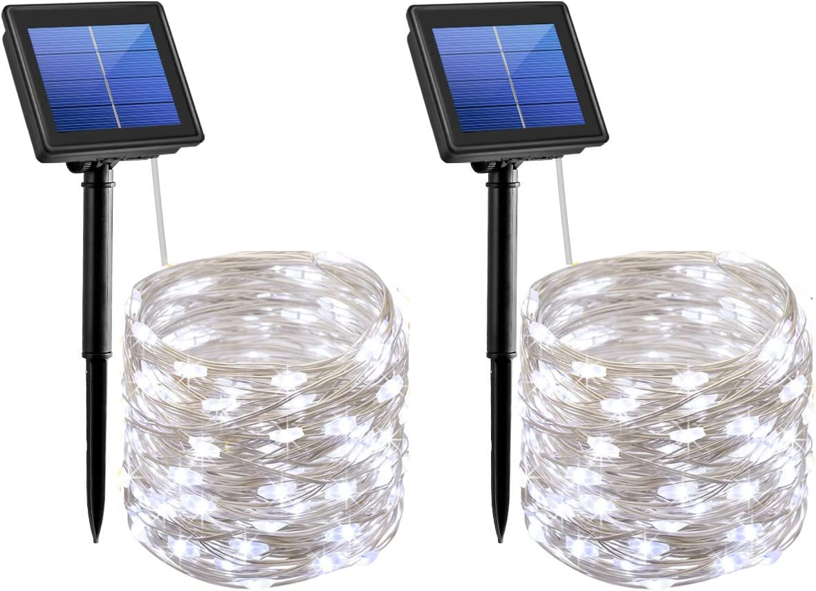AMIR Solar String Lights,72ft 8 Modes Copper Wire Lights, 200 LED Starry Lights, Waterproof IP65 Fairy Christmas Decorative Lights for Outdoor, Wedding, Homes, Party White – Pack of 2