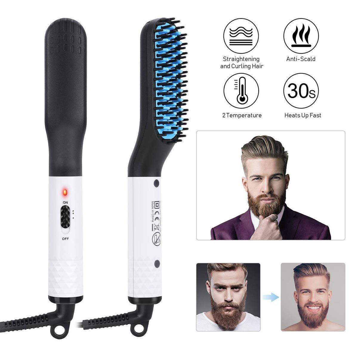Beard Straightener Brush, Mens Hair Straightener Brush Multifunctional Quick Curly Hair Straightening Comb Side Hair Detangling Styling Electric Hair Comb