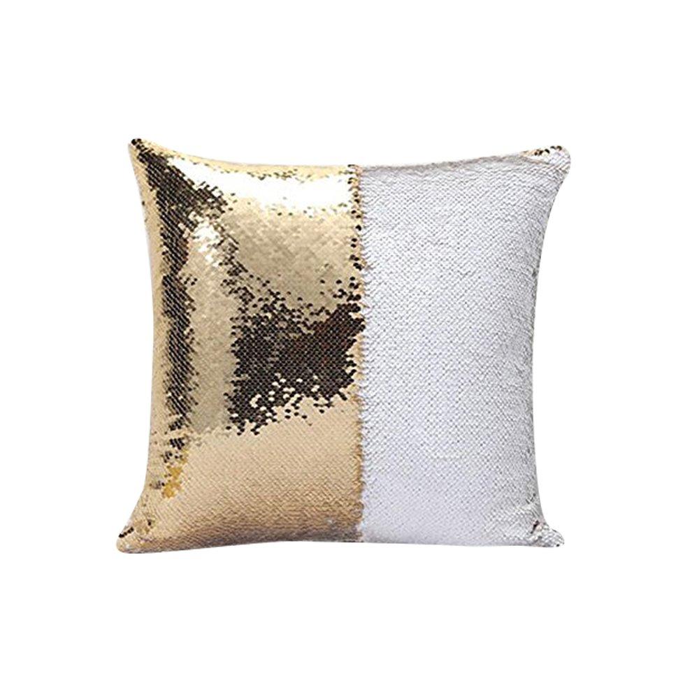 Ruixiang 1pcsスパンコール枕カバー、DIYマーメイドBicolorスパンコール枕カバー、マジック枕変色リバーシブル枕カバー16