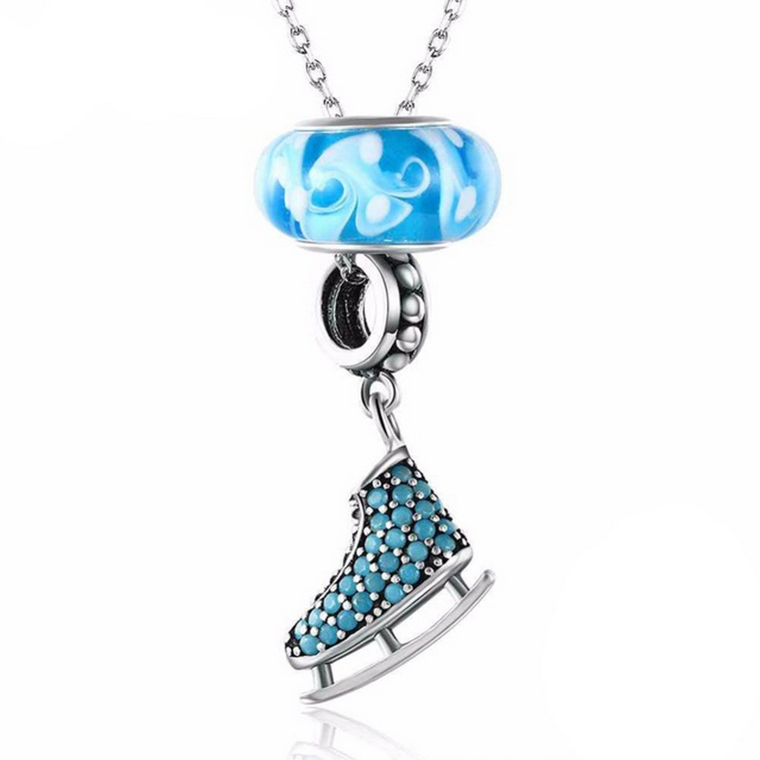 CS-DB Jewelry Silver Roller Skates Chain Charm Pendants Necklaces