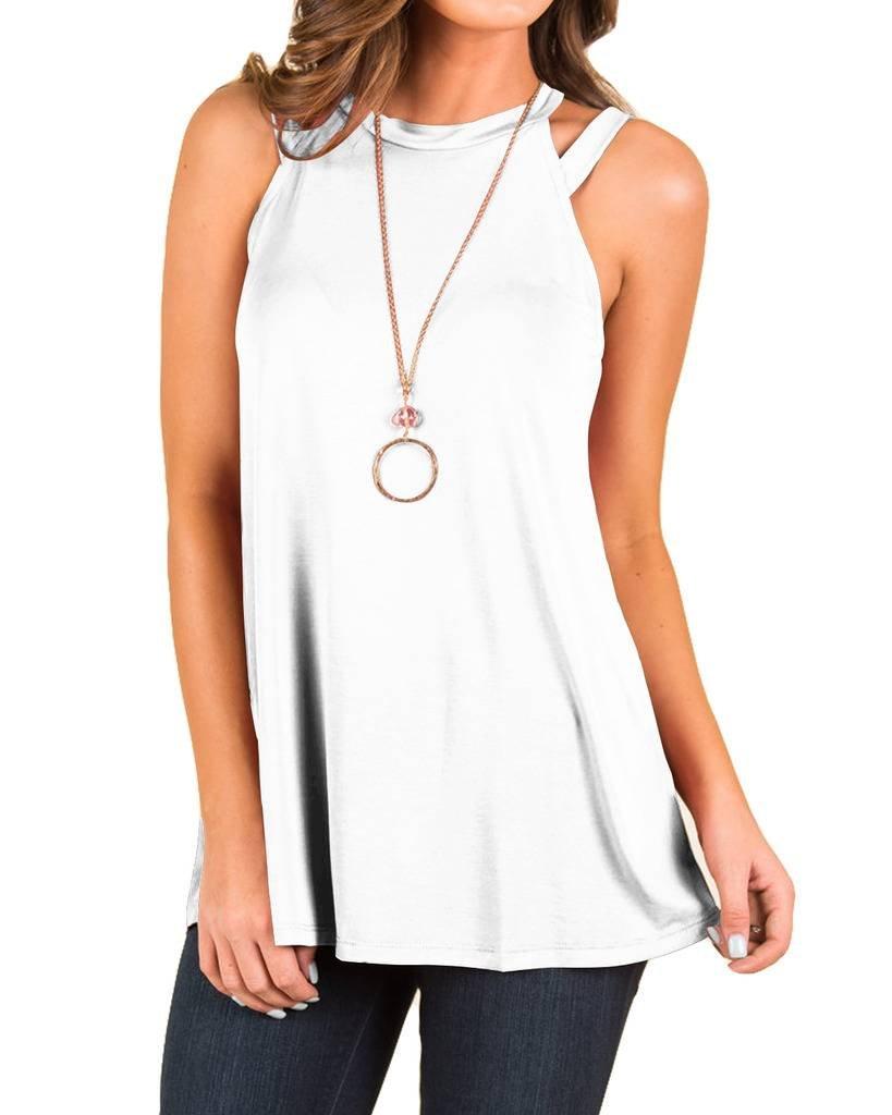 EZBELLE Women's Summer Loose Plain Tank Tops Flowy High Neck Sleeveless Shirts Tunic Blouse White X-Large