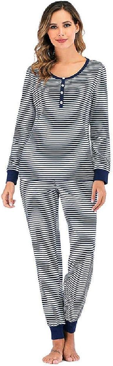 Pijamas Los Trajes de Pijama de algodón de Manga Larga a Rayas de otoño e Invierno para Mujer se Pueden Usar afuera: Amazon.es: Ropa y accesorios