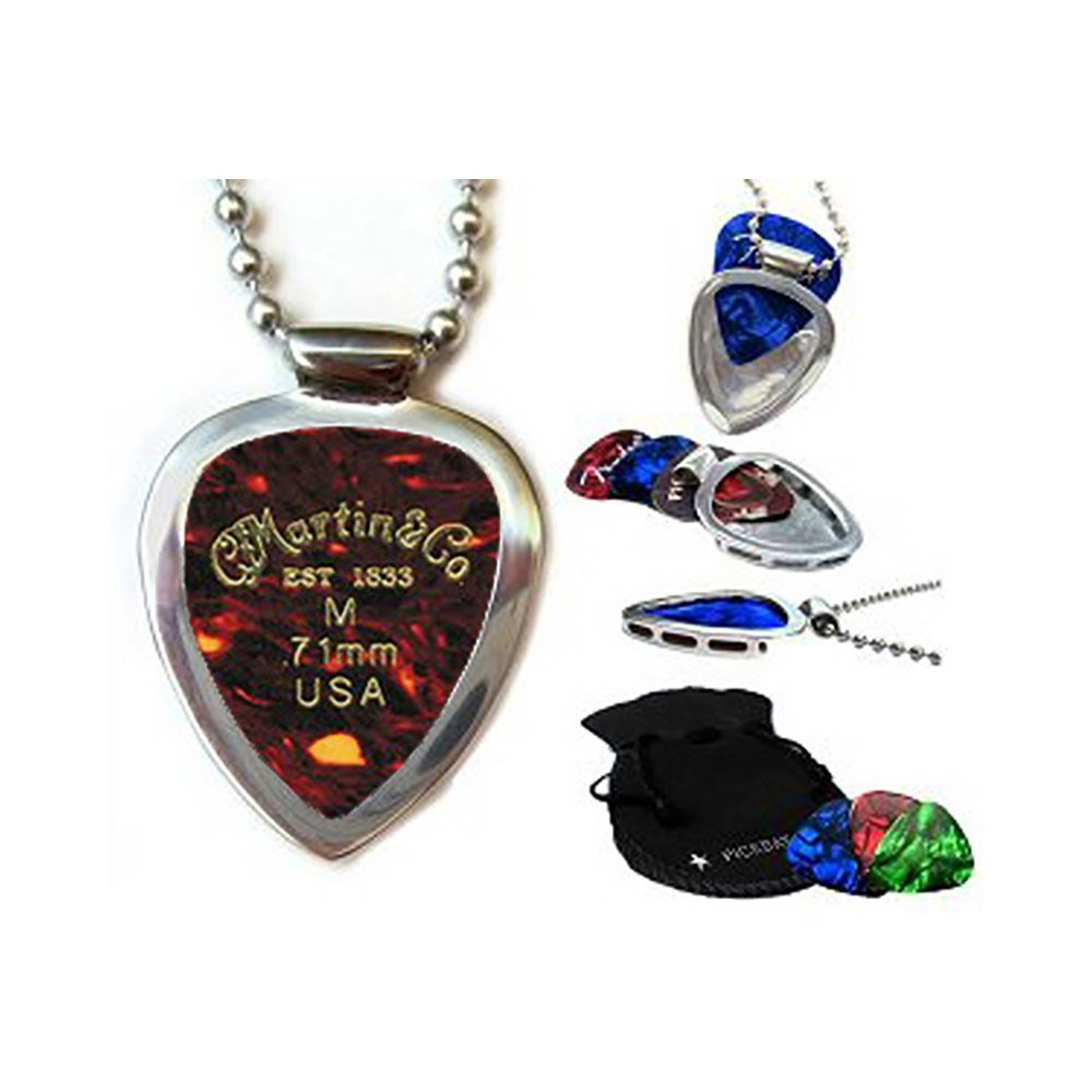 Amazon.com: Guitar Pick Holder Pendant Necklace Pickbay Stainless ...