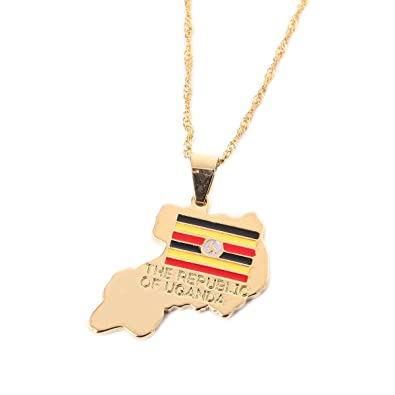 Map Of The Republic of Uganda Africa National Flag Country Gold Pendant Necklace