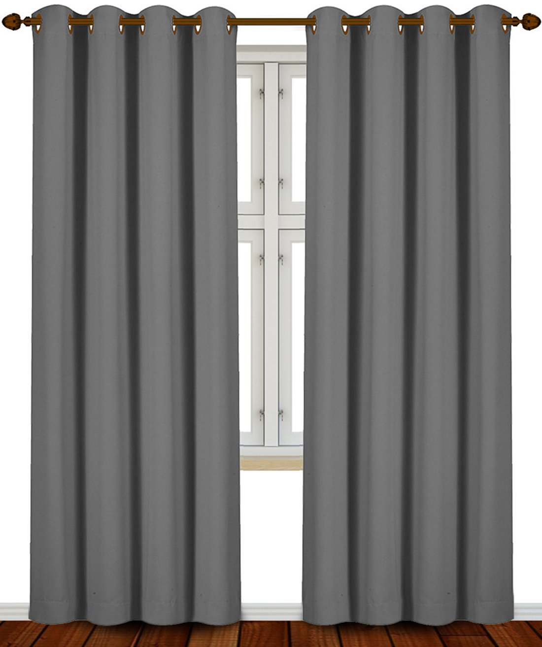 Blackout Room Darkening Curtains Window Panel Drapes Grey Color