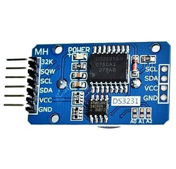 Hosaire Módulo DS3231 AT24C32 reloj en tiempo real RTC alta precisión de reloj con batería suministrada módulo de memoria del módulo CII para Arduino ...