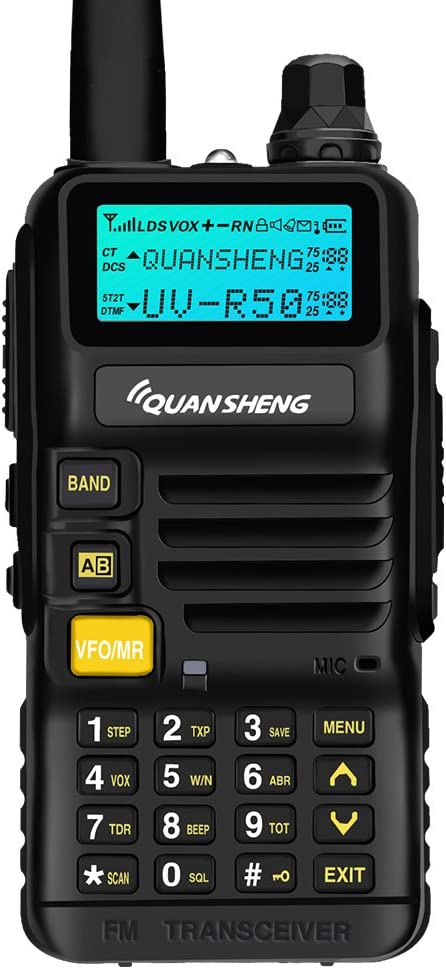 Quansheng UV-R50 Rechargeable Dual Band Two-Way Radios with Earpiece Long Range Walkie Talkies 136-174MHz VHF 400-520MHz UHF Ham Amateur Radio Li-ion Battery and Charger Included