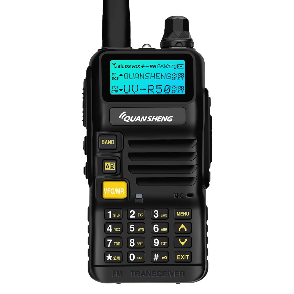 Quansheng UV-R50 Rechargeable Dual Band Two-Way Radios with Earpiece Long Range Walkie Talkies (136-174MHz VHF & 400-520MHz UHF) Ham Amateur Radio Li-ion Battery and Charger Included
