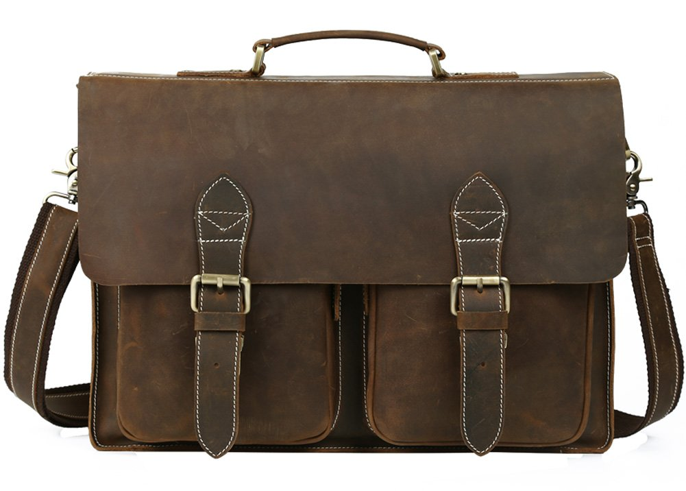 Texbo Handmade Cowhide Leather Solid Laptop Briefcase Messenger Bag Fit 15 Inch Laptop