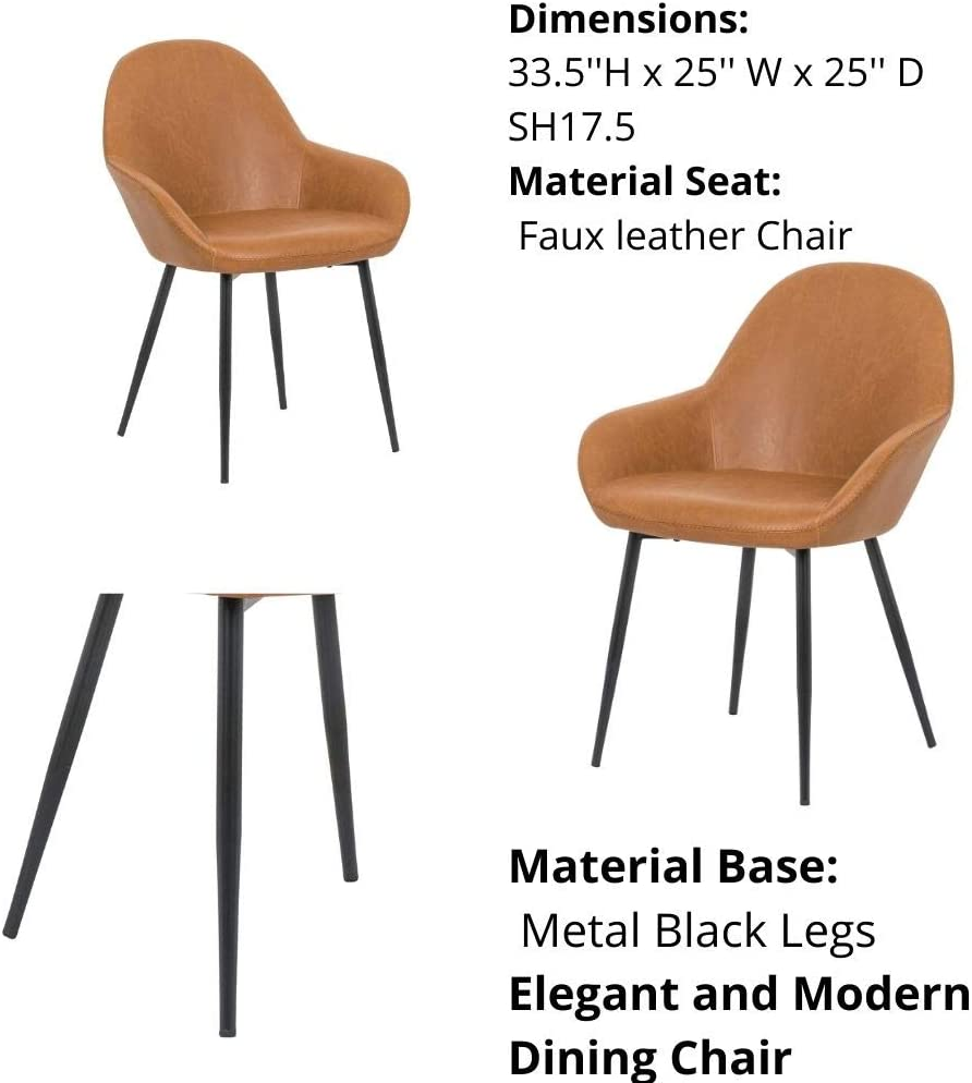 Dining Side Chair with Foot Pad Modern Style PU Leather in Tan Set 2 Chair with Metal Legs for Kitchen Dining Room Plata Import PU Upholstered Dining Chair