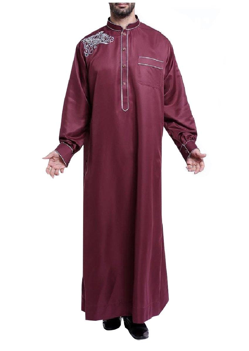 CuteRose Men Embroidered Mandarin Collar Basic Cotton Islamic Muslim Thobe Wine Red S