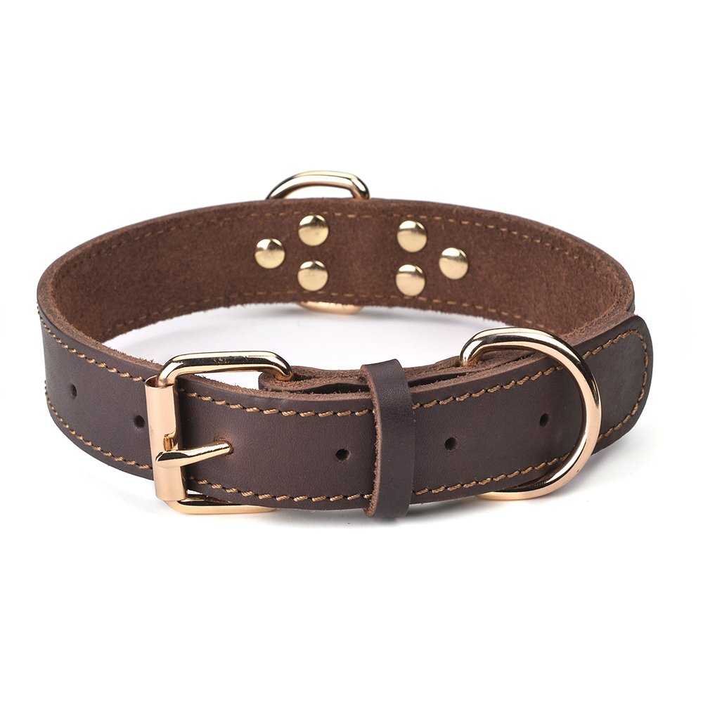 DAIHAQIKO Leather Dog Collar Genuine Leather Alloy Hardware Double D-Ring 3 Best for Medium Large and Extra Large Dogs (S: 1'' Wide for 16''-20'' Neck, Single Stitch - Brown)