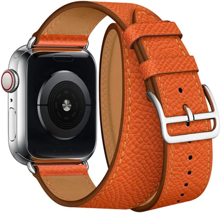 JL-BAND 18 Color Compatible for Apple Watch Band 44mm 40mm 42mm 38mm Compatible Replacement for Series 5 4 3 2 1 Double Tour Leather Watch Band