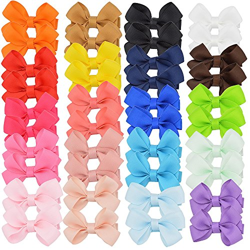 (40pcs Baby Girls Hair Bows Fully Covered Ribbon Hair Clips Barrettes for Baby Fine Hair Toddlers Teens)