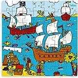 Vilac - 2555 - Jeux et Jouets en Bois - Puzzle forme Pirate (49 pièces)