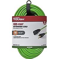 100-Feet Hyper Tough 16/3 Extension Cord Hi-Vis Green For Outdoor use