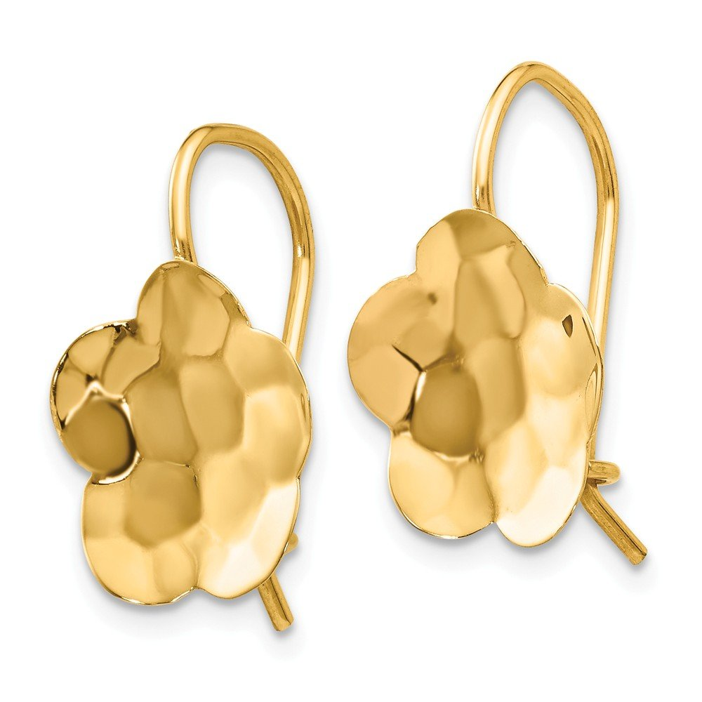 Mia Diamonds 14k Yellow Gold Concave Hammered Flower Disc Earrings
