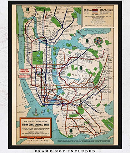 (Vintage New York Subway Map Wall Art Print: Unique Room Decor for Boys, Girls, Men & Women - (11x14) Unframed Picture - Great Gift Idea)