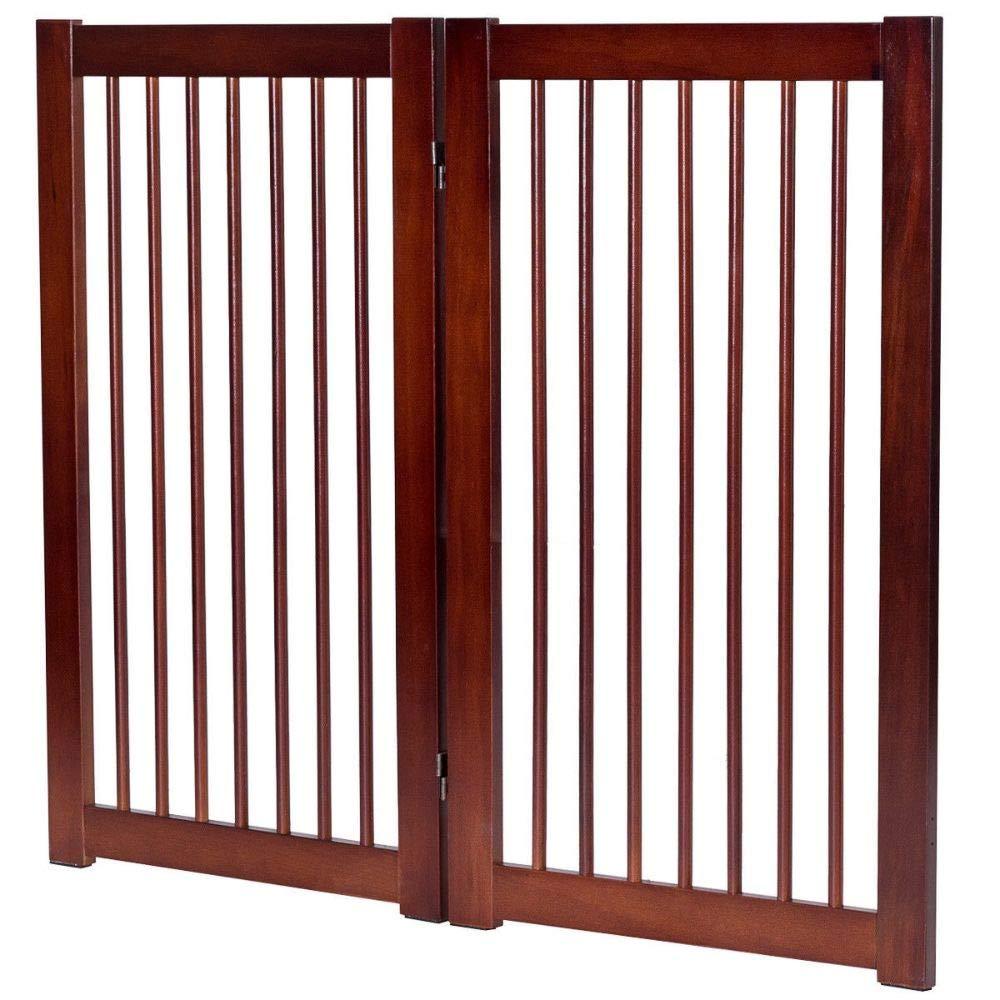 "36"" Configurable Folding Wood Pet Dog Safety Fence with Gate"