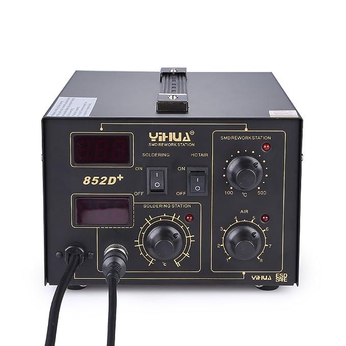Mbuynow 700W 852D Estación de Soldadora de aire Caliente , 2 en 1 Con Pantalla LCD Control de Temperatura Electrónica, 650W Pistola de Calor 100 ~ 500: ...