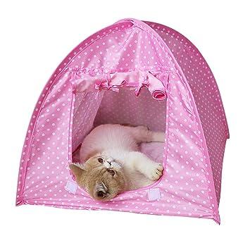 POPETPOP Tienda de campaña para Mascotas, para Perro, Tipi, Perro, caseta Impermeable, Plegable, para Viajes al Aire Libre (Lunares Rosa): Amazon.es: ...