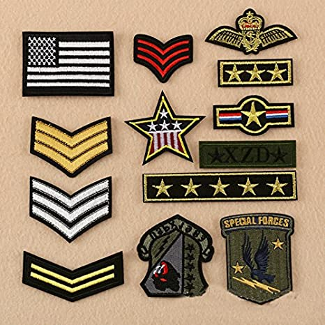176e3b48027a Pinkdose Embroidery Gold Stripes Badges and Star, Flag Patch ...