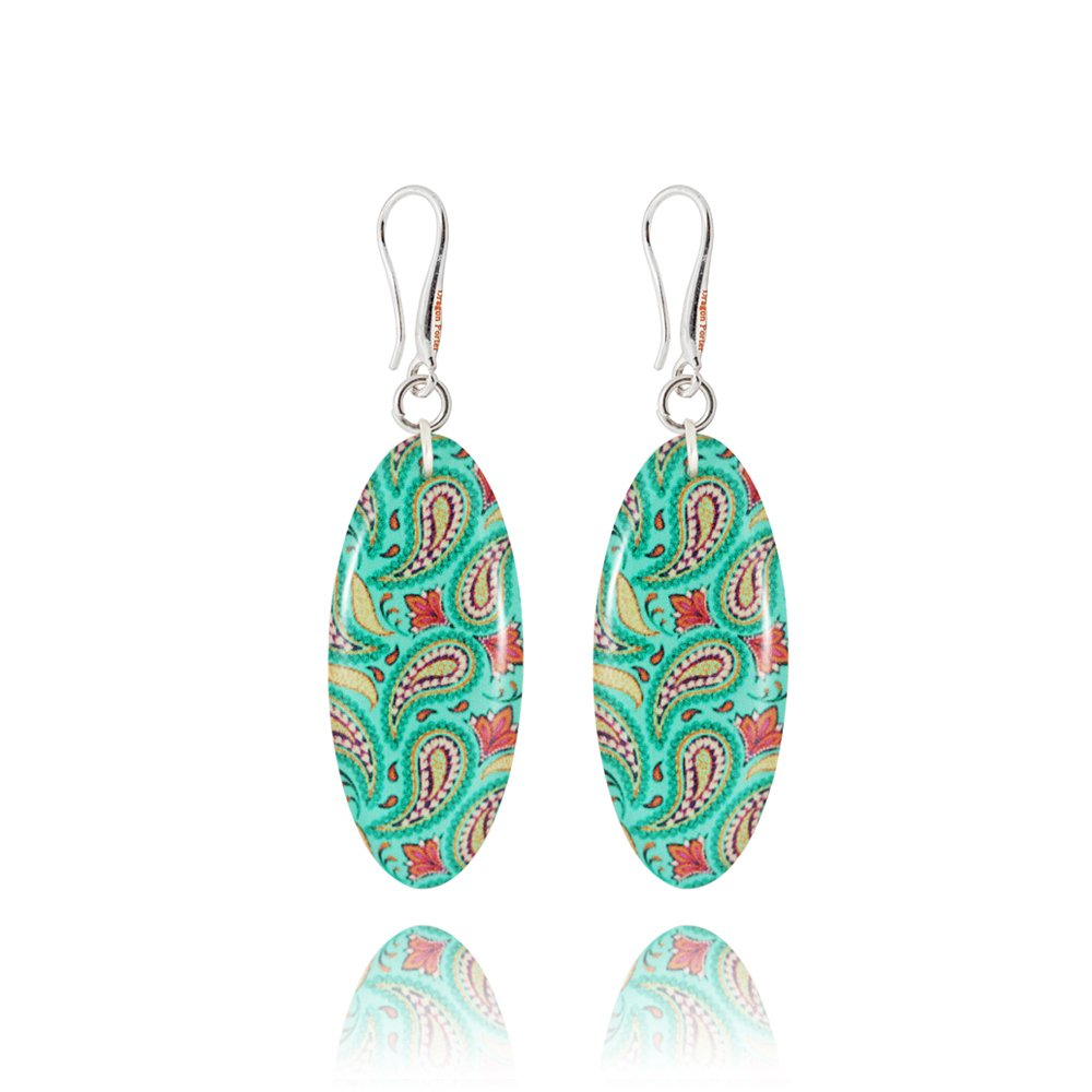 Oval Turquoise Drop Earrings for Darling in a Gift Bag by Dragon Porter 4m94qv