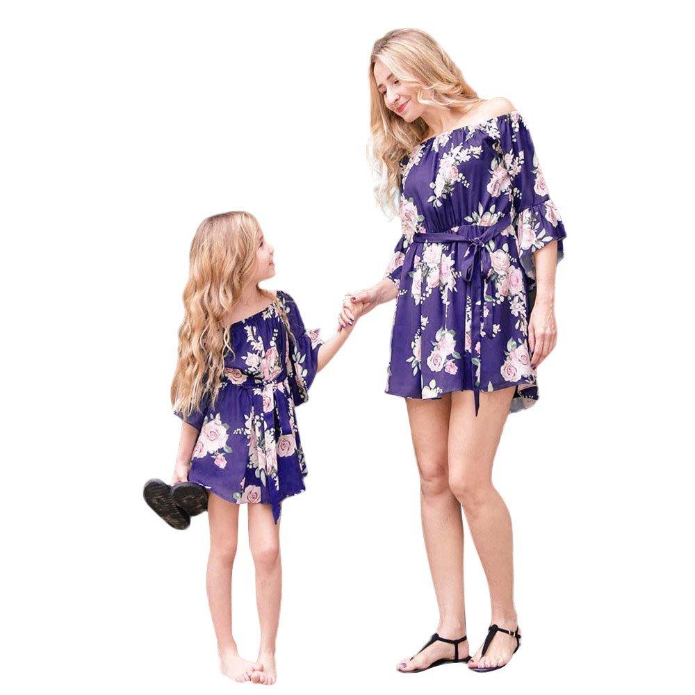 Oyedens Partnerlook Mutter Tochter, Mama Kind Kleid Strandkleid Schulterfrei Sommerkleider Blumenmuster Mädchen Freizeitkleidung Sunsuit Familien Kleidung Matching Outfits