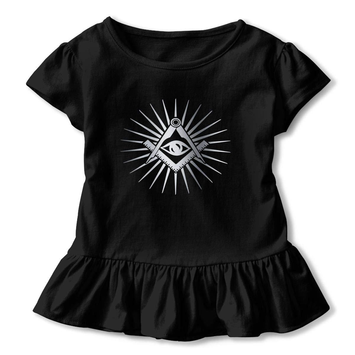 Clarissa Bertha Freemason All Seeing Eyes Toddler Baby Girls Short Sleeve Ruffle T-Shirt