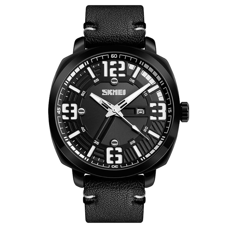 ファッション腕時計メンズ防水アウトドアスポーツ時計トップラグジュアリービジネスクォーツ腕時計Very Coolダイヤル 49mm ブラック B07BZXHFZRブラック
