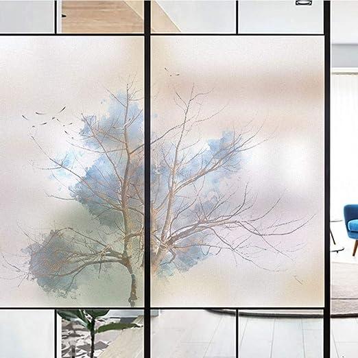 88CM RniRc Film Fenetre Stickers Arbre en Forme De Coeur Electrostatique D/époli De Fen/être Film pour Bureau Maison Salle Bain【Personnalisable】,A,60