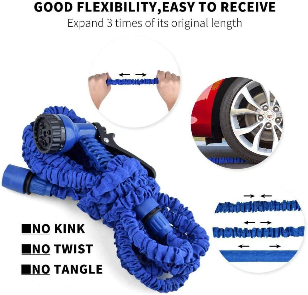 Flexible Magic Hose Anti-Leakage Lightweight 25FT//50FT//75FT//100FT//150FT Garden Hose Pipe,Expanding Garden Water Hose Pipe with 10 Function Spray Gun Injection 25ft Length, 7.5m