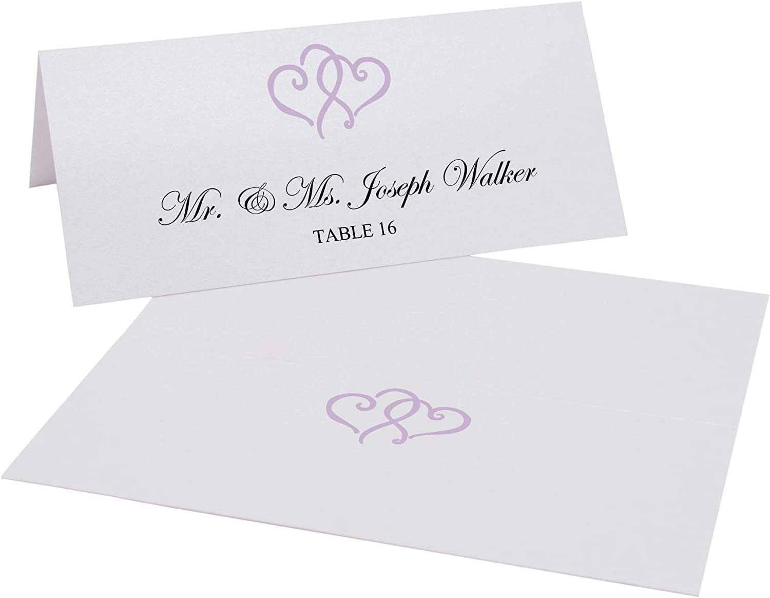Linked Hearts Printable Place Cards, Lavender, Set of 60 (10 Sheets), Laser & Inkjet Printers - Perfect for Wedding, Parties, and Special Events