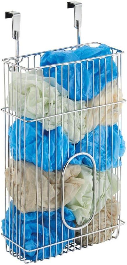 mDesign Portabolsas Colgante 'Classico' para el Armario de la Cocina – Organizador de Bolsas Fabricado en Acero para Guardar Bolsas – Cesta metálica para Las Puertas de armarios – Cromado
